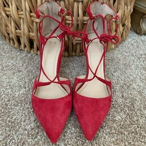 Marc Fisher Red Suede Lace Up Pumps